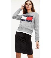 tommy hilfiger women's tommy flag sweatshirt light grey heather - l