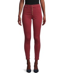 joe's jeans women's charlie high-rise skinny ankle exposed button jeans - cinnabar - size 30 (8-10)