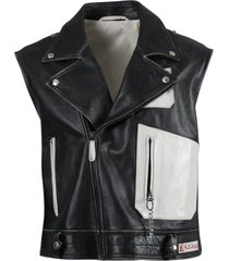 black and white sleeveless perfecto vest jacket