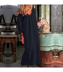 zanzea para mujer de la manga de soplo del cuello de v de la playa vestido de algodón floja ocasional de kaftan vestidos maxi -azul marino