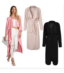 new fashion ladies long sleeve duster jacket belted trench coat long top