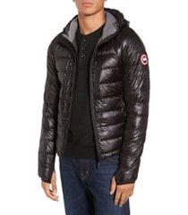 men's canada goose 'hybridge(tm) lite hoody' slim fit packable jacket, size large - black