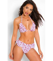 mix & match neon ditsy floral triangle bikini top, white