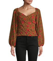 animal & floral print puff-sleeve blouse