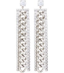 cubic zirconia long chain earrings
