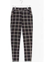 womens square we belong high-waisted check pants - black