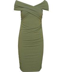 off shoulder dress knälång klänning grön ivyrevel