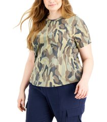 inc plus size cotton printed creweck top, created for macy's