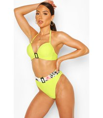 buckle belted bandeau high waist bikini, lime