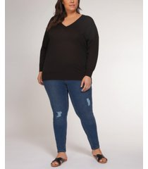 plus size drop-shoulder sweater