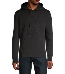 boss hugo boss men's logo embossed hoodie - black - size s