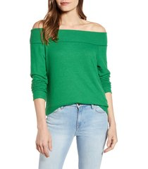 women's gibson x living in yellow mary fleece off the shoulder top, size x-large - green (regular & petite) (nordstrom exclusive)
