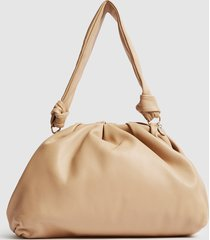 reiss ellena - leather pouch shoulder bag in biscuit, womens