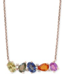 "effy multi-sapphire (2-1/2 ct. t.w.) & diamond accent 18"" pendant necklace in 14k gold"