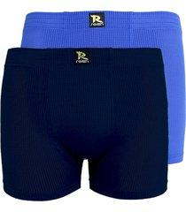 kit com 2 cuecas boxer linha noite smart azul e azul marinho