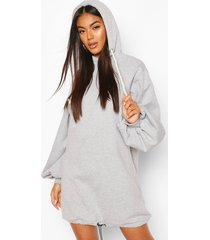 oversized toggle hoody dress, grey marl