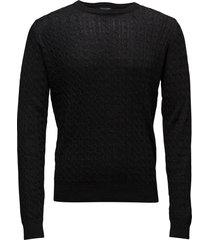 neuxes, men's o-neck gebreide trui met ronde kraag zwart bruun & stengade