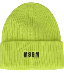 msgm logo embroidered knit beanie
