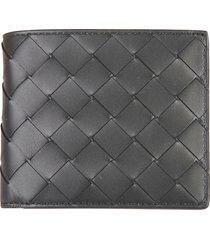 bottega veneta weaved detail bifold wallet