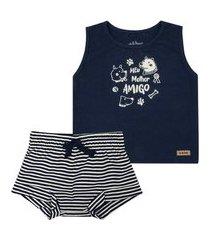 conjunto macacão shorts banho de sol marinho nini&bambini incolor