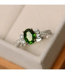 1.62 ct oval emerald & diamond wedding ring 14k solid white gold