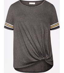 maurices plus size womens 24/7 striped sleeve knot hem tee gray