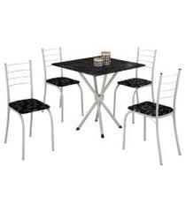 mesa com 4 cadeiras para cozinha ipanema teixeira branca