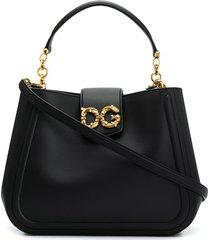 dolce & gabbana sicily soft-leather tote bag - black