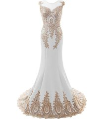 sheer gold lace long mermaid corset low back formal prom evening dresses white u