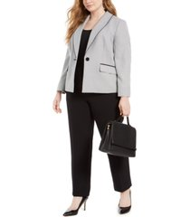 le suit plus size shawl-collar straight-leg pants suit