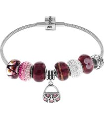 link up purse crystal and glass bead charm bracelet in sterling silver