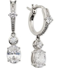 eliot danori cubic zirconia charm hoop earrings, created for macy's