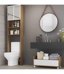 armã¡rio de banheiro para vaso sanitã¡rio com espelho e balcã£o com rodãzios multimã³veis rustic/branco - marrom - dafiti