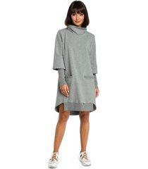 jurk be b089 asymmetrische jurk met rolkraag - grijs