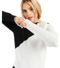 inc colorblocked applique sweater, created for macy's