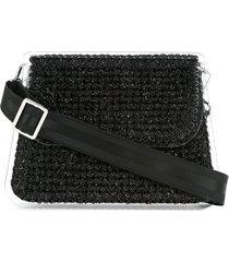 0711 monaco woven crossbody bag - black