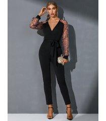 yoins black patch leopard cinturón monos de diseño