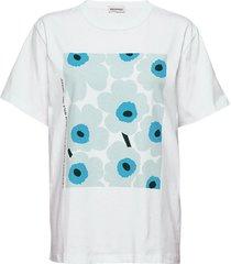 nokkela unikko placement t-shirts & tops short-sleeved wit marimekko