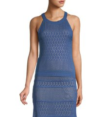 allison new york women's geometric knit tank top - midnight blue - size xs