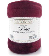 manta microfibra flannel casal pisa 1,80x2,20 - altomax - bordã´ - rosa - dafiti
