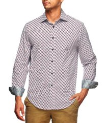 tallia men's slim fit medallion print long sleeve shirt and a free face mask