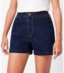 loft curvy welt pocket denim shorts in refined dark indigo wash