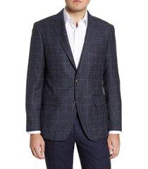 rodd & gunn portland spray classic fit windowpane wool blend sport coat, size x-large in bluestone at nordstrom