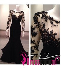 custom mermaid long sleeves black lace prom dress,new evening/party dresses q27