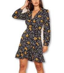 ax paris floral print elasticated waist v neck dress