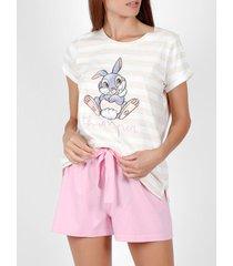 pyjama's / nachthemden admas pyjama kort t-shirt thumper disney beige