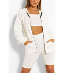 three piece cycling short crop top hoodie set