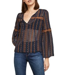 embroidered sheer bell-sleeve top