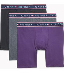 tommy hilfiger men's cotton stretch boxer brief 3pk black/gray/purple - xl