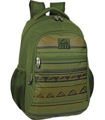 mochila verde reef  18  dos divisiones con bolsillos